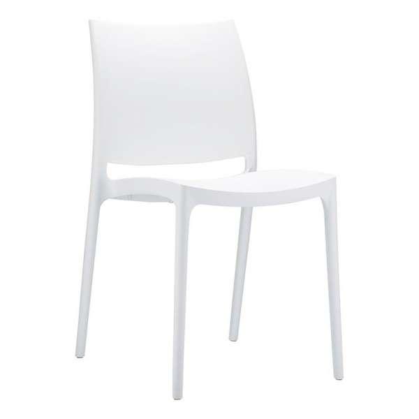Chaise blanche en plastique polypropylène - Maya - 12