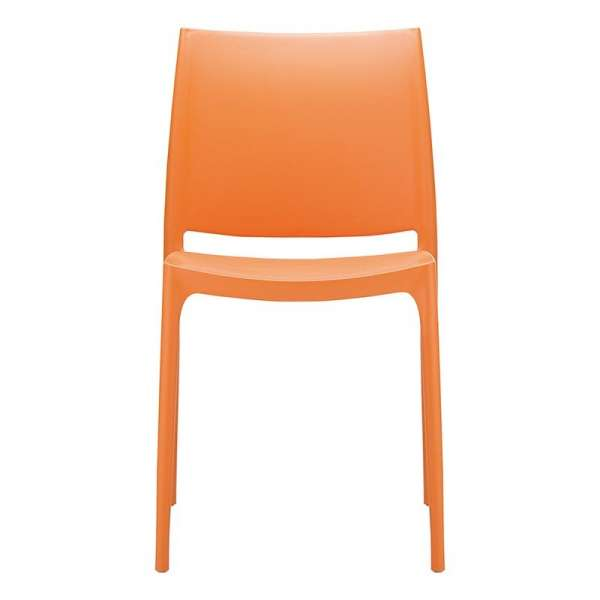 Chaise orange empilable en plastique polypropylène - Maya - 17