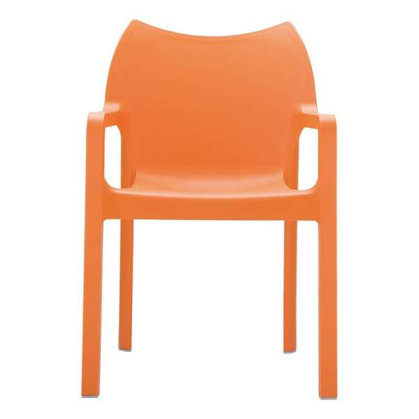 Fauteuil design orange en polypropylène - Diva - 6