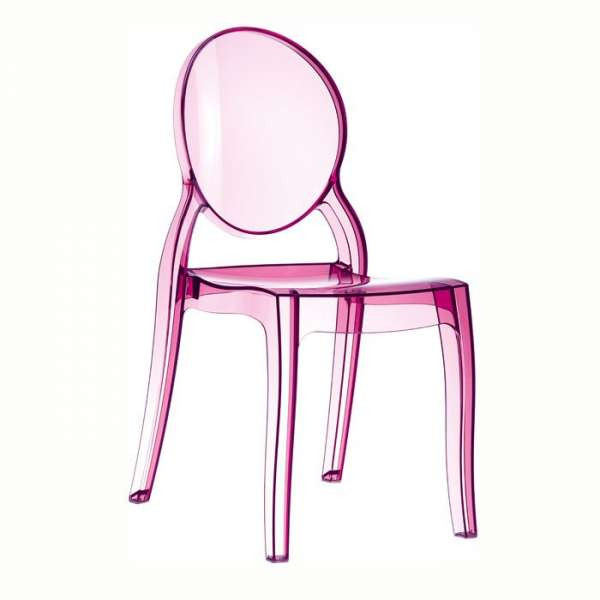 Chaise design en plexi transparent rose Elizabeth - 14